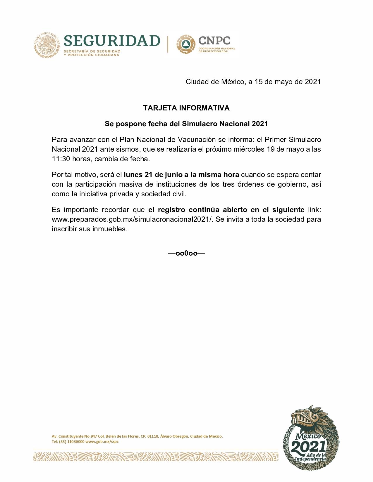 CAMBIÓ DE FECHA EL 1ER MACRO SIMULACRO NACIONAL 2021